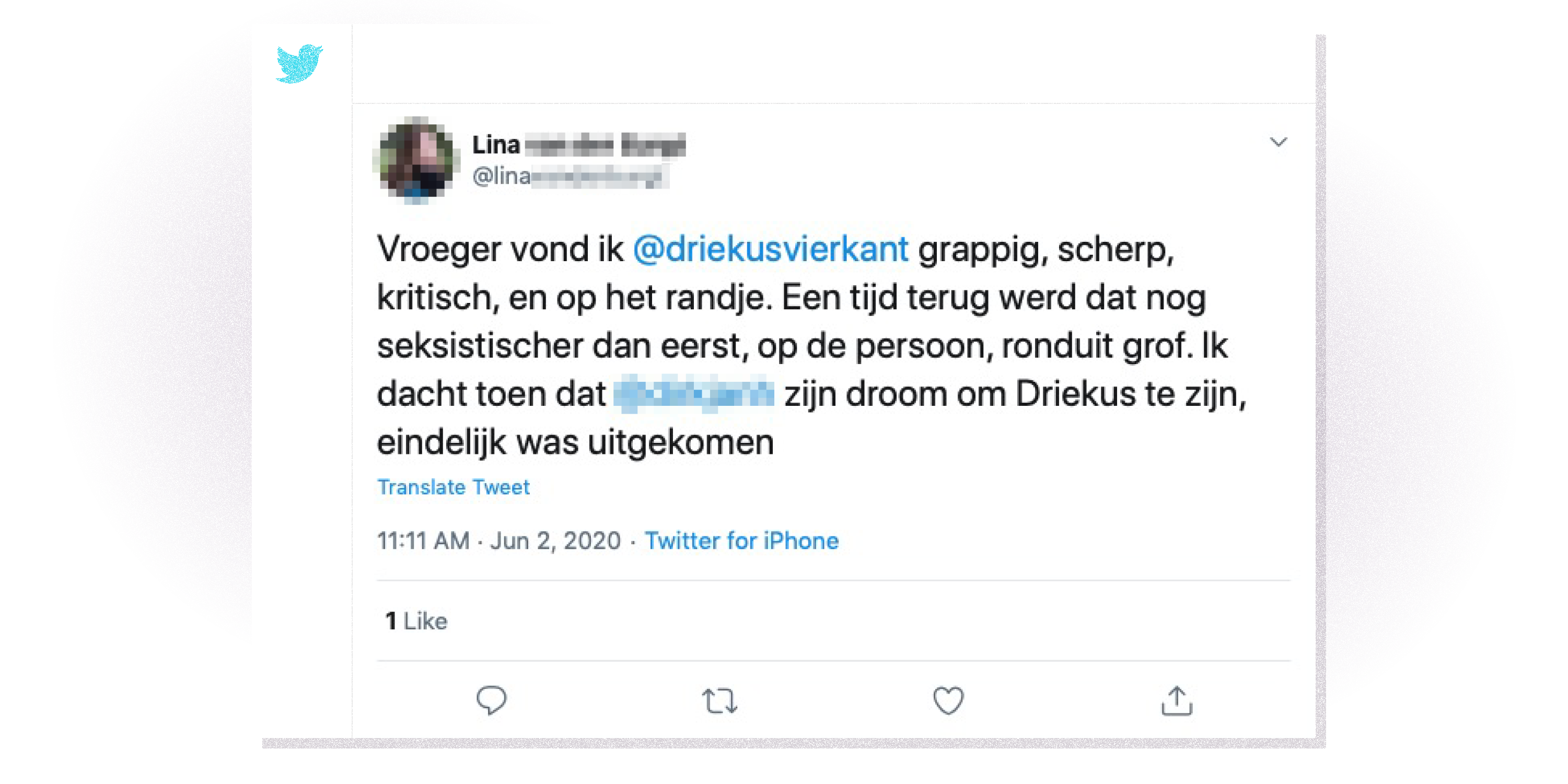 Tweet over Driekus.